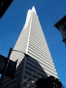 In February of 2015 I went up to San Francisco and stood across the street from the TransAmerica Pyramid. It was very pyramid-y. The street guide I had said that the buildings observation deck/room was closed after 9/11 which is a bummer. I would have liked to have gone up.