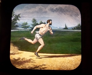 "This is a magic lantern slide. I don't really know what it's purpose was but it does say on the slide: IOOF Man in his Strength. (It's in much better shape than this scan.) I just think it is so cool. The slight fuzziness to the ""scanned"" image is due to the fact that the image is painted on glass."