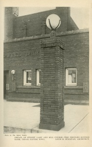 This image is from the same journal. These posts are no longer there. That's a shame. The name of the article is The People's Savings Bank of Cedar Rapids, Iowa -- Louis H. Sullivan: Architect by Montgomery Schuyler. Pages 44-56.