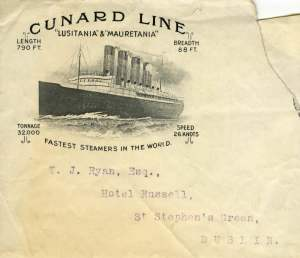 This is part of an envelope from the Cunard Line. The envelope was torn to take off the stamp but I really like what remains of the envelope. It's a great image.