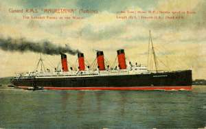 This is the Mauritania. Other Cunard ships are the Queen Mary and the Imperator.