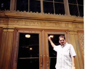 This is a scan of a photo so it's a little blurry. I'm outside the Cunard Building in NYC. For somebody who likes ocean liners this was a great day for me.