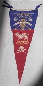 Another pennant I photographed at work under a skylight. Notice the goat. I have seen goats associated with the Odd Fellows on numerous occasions. I still haven't figured out the significance.