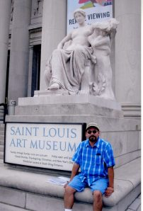 I'm in front of the St. Louis Art Museum. I traveled there because not only was the building designed by Cass Gilbert but it was used for exhibits at the 1904 World's Fair. [Guillermo Luna in St. Louis.]