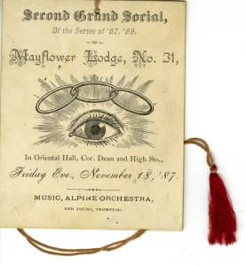 It's a dance card from the Mayflower Lodge (no. 31) Grand Social in 1887