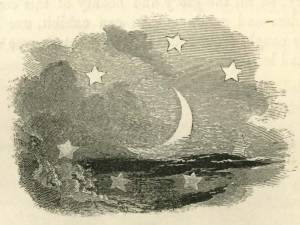 The Moon and the Seven Stars. The seven stars are to remind us of the seven pillars in the house of wisdom and warn us not to wander starless in the night of destitution.