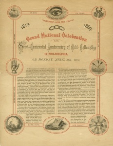 A pamphlet marking the 5oth anniversary of the Odd Fellows.