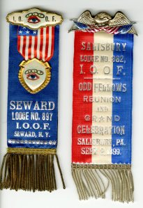 The Odd Fellows are a very patriotic group which can be seen reflected in these ribbons.