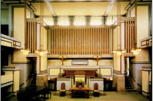 This image is from an old postcard. Unity Temple is a wonderful building that many people don't know anything about. It is well worth a visit and I urge anyone who is interested in Frank Lloyd Wright to make a trip to it.