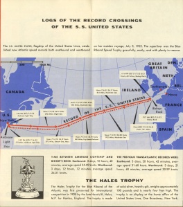 In the S.S. United States brochure there is some information on how the ship won the Blue Riband.