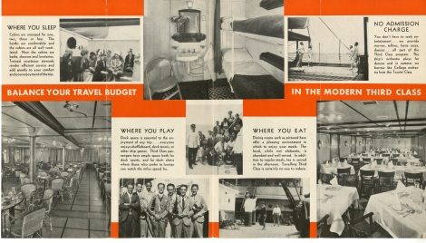The interior of the 3rd class brochure.