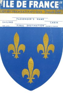 Another cool baggage lable from the ILE DE FRANCE. It looks very royal.