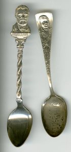 Some Grant spoons. The one on the left is a good likeness. The one on the left is not a good likeness. The one on the left makes him look like Homer Simpson.