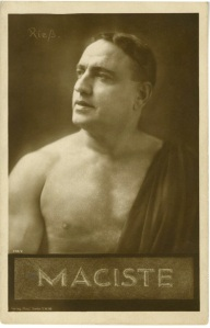 I bought this postcard online recently. Maciste would be similar to Hercules. Maciste was in Cabiria (1914) and many other Maciste movies afterward and into the 1920s.