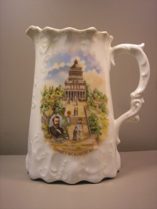 I guess it would be a milk pitcher but I can't believe anyone would use it for that purpose. It's a souvenir.