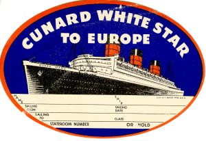 A Cunard baggage label with the Queen Mary.