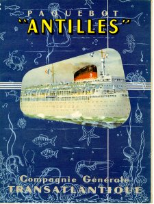 scan267The name of the Ship is the ANTILLES. There are two things I really like about this cover: 1) all the marine life depicted on the cover and 2) isn't the ocean liner under the water line? That doesn't bode well. When you open up this brochure very big brochure there is a diagram of the ship. It must be about 2ft by 3ft when completely unfolded.