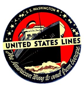 The Washington was launched in 1932 and scrapped in 1965. It's a nice baggage sticker.