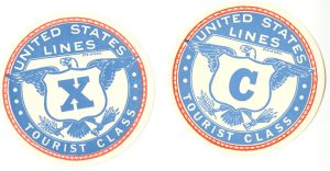 Some Tourist Class labels from the United States Lines.