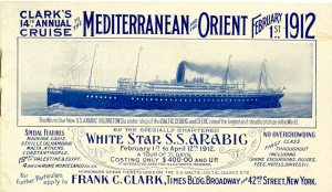 This booklet is for a cruise through the Mediterranean and on to Istanbul and Egypt. It left two and a half months before the Titanic sank and arrived bank in England on the day the Titanic sailed. The Titanic was also a White Star Line ship.