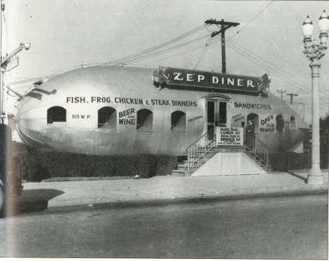 I found this image in a book called, California Crazy by Jim Heimann and Rip Georges. It's a fun book with lots of great photos. The Zep Diner was located at 515 West Florence Avenue in Los Angeles.