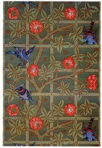 In my book I mention that Joaquin's bedroom is wallpapered in William Morris' Trellis wallpaper pattern. This is the pattern. Philip Webb, Morris' friend designed the blue birds.