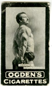 See, this is a more typical Sandow pose. I think he's wrapped himself in a leopard skin. This is a cigarette card so the card is 1 1/2 inches by 2 1/2 inches.