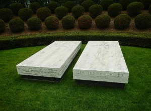 Herbert and Lou Hoover's graves. They're very modest. Nothing like Grant's Tomb.