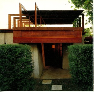 This is the entrance to the house. I didn't get a good picture of this elevation so this image is from a book called, RM SCHINDLER composition and contruction by Lionel March and Judith Sheine. Judith Sheine has written a number of books on Schindler. See that wooden overhang. That's an outdoor sleeping porch.