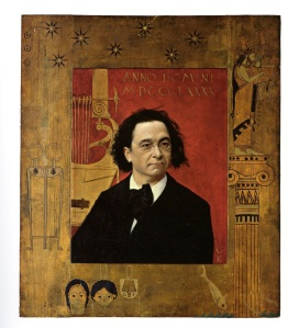 This is a Portrait of Joseph Pembauer by Gustav Klimt done in 1890.