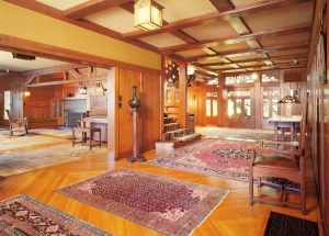 Interior view of Gamble house. This is a postcard I bought while at the Gamble House. The photographer is Marvin Rand.