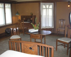 This is a second floor bedroom in the Gamble House. There is room for lots of furniture.