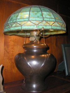 This is a lamp in the living room of the Gamble House. It was not made by Greene and Greene. It was made by Tiffany Studios.
