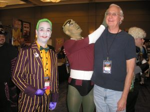 David Holly with a space alien (?) and the Joker.
