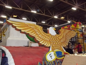 The eagle at the front of the float.