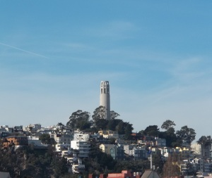 This is a view of Coit Tower from the Ferry Building from the day before we actually went.