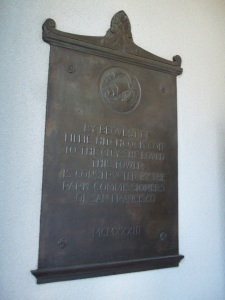 A plaque installed when the building was built.