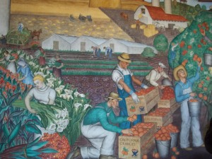There are murals throughout the ground floor.