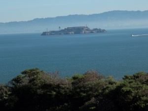 This photo was taken before walking across the bridge. That's Alcatraz out there.