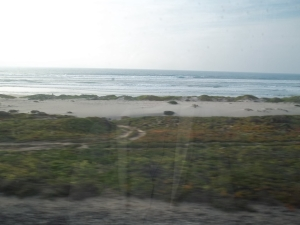 Along this stretch we saw 50 (?) miles of ocean from the train.