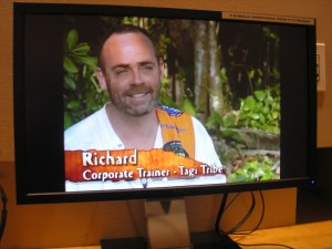 I went upstairs to the Paley Library and watched the first episode of Survivor again. Within the first ten minutes of the show Richard was already saying he was going to win and they could write the check already.