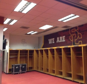 Inside the Trojan locker room.