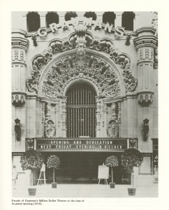 This is the standard photo that is used when an article is written about the Million Dollar Theater. Notice the grill work behind the original marquee.