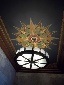 A light fixture inside the lobby.