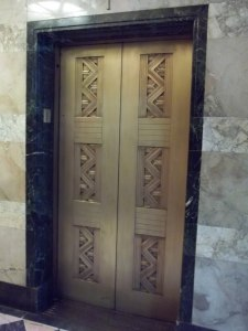 The building's elevator doors. Nice. Not amazing but nice.