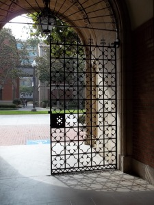 There are two of these gates back from the arch. This is looking out. Uh, those gates are pretty nice too.