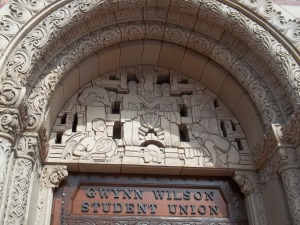 Above the student union front door is this frieze.