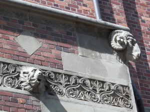 Above the side door are these animals.