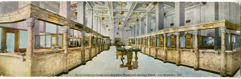 This oversize postcard shows what the interior of the bank looked like.