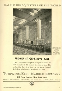 An interior view of the store from a marble advertisement.